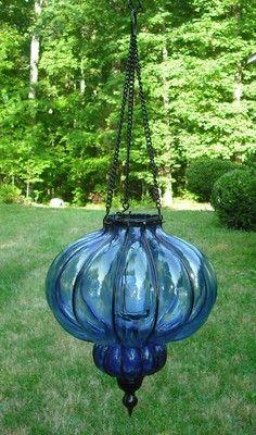 Large Vintage Blue Glass Hanging Hurricane Tea Light Votive Candle Holder Ribbed
