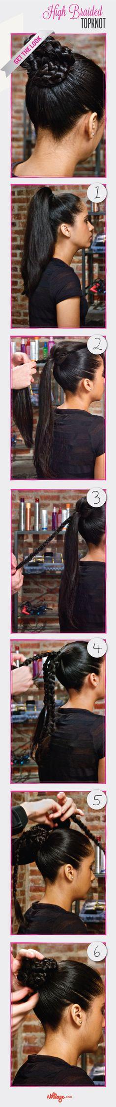 High Braided Topknot Tutorial  #hairstyles #DIY http://www.ivillage.com/diy-high-braided-topknot-0/5-h-480115