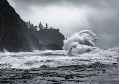 """Stormy Weather on the Washington Coast"" - With the high winds & rain fall I knew I had to drive to the coast to see the waves crashing! The wind was blowing the rain sideways and I was completely soaked through all my layers after 30 minutes but the explosiveness of the waves colliding was mesmerizing. I was really surprised with the number of other photographers out there too! Definitely worth seeing once.  <a href=""https://www.facebook.com/MusgravePhotography"" title=""Check out my…"