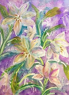 Lilies Painting - Dancing Easter Lilies by Ellen Levinson