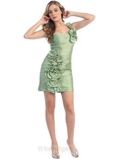Amazing Sheath / Column One Shoulder Short / Mini Taffeta Flower(s) Green Cocktail Dresses - $115.99 - Trendget.com