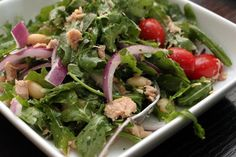 Arugula and Italian Tuna Salad Healthy Diet Recipes, Healthy Foods To Eat, Raw Food Recipes, Healthy Cooking, Salad Recipes, Dinner Recipes, Healthy Eating, Cooking Recipes, Dessert Recipes
