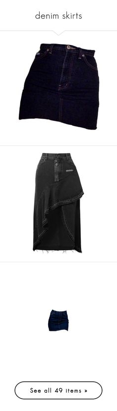 """""""denim skirts"""" by sabsios ❤ liked on Polyvore featuring skirts, bottoms, champagne skirt, denim ruffle skirt, frilly skirt, button-front denim skirts, zip skirt, mini skirts, clothing / and denim"""