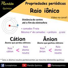 Resuminho sobre raios iônicos, abordando cátions e ânions. Propriedades periódicas. Studying, Chemistry, Physics, Anatomy, Nerd, Science, Learning, School, Tips