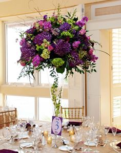 tall purple and green centerpieces