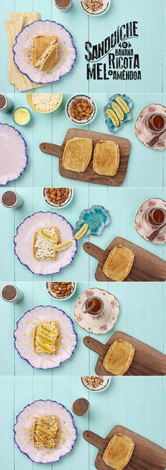 Sanduíche de banana com ricota e mel | Receita Panelinha: O pão francês prensado e tostadinho, combinado com banana ouro, ricota fresca e amêndoas, conquista até os mais conservadores: seu café da manhã nunca mais será o mesmo depois do Sandubanana.