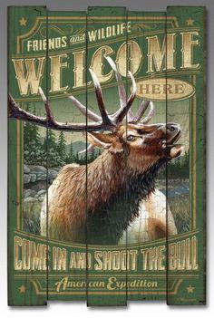 American Elk Wooden Cabin Sign