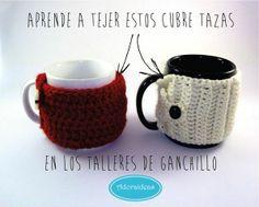 Cubre-tazas, aprende con nosotras en el taller de ganchillo www.adoraideas.com
