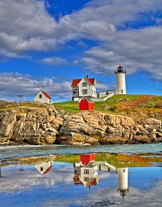 ~~Nubble Point ~ Lighthouse with reflection, Maine by beforethecoffee~~