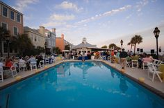 Poolside Event Dining at The Grand Pavilion   Charleston, SC Meetings and Special Events #donnamorganengaged