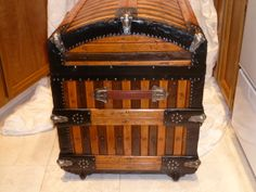 Martin Maier Oak Slat Trunk See more trunks, get information, and purchase one of these at hmsantiquetrunks.com