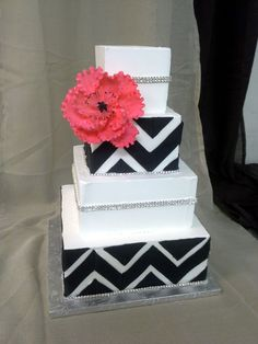 chervon black and white. — Square Wedding Cakes