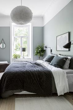 Gray and Sage Green Bedroom. Gray and Sage Green Bedroom. Gray and Sage Green Bedroom Gray and Sage Green Bedroom Bedroom Apartment, Home Decor Bedroom, Master Bedroom, Bedroom Furniture, Bedroom Designs, Bedroom Small, Ikea Bedroom, Couple Bedroom, Girls Bedroom