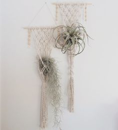 This is a listing for one plant hanger. These unique and playful plant hangers can hold large airplants or potted plants. They are extremely