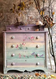 """: This dresser has sold, please do not purchase. Thank you for viewing our one of a kind pieces. """" Falling For You """" ! This Sweet Vintage Dresser was created with layers of chalk clay base paint ~ lavender , soft green tones , white and touches o Repurposed Furniture, Shabby Chic Furniture, Rustic Furniture, Vintage Furniture, Modern Furniture, Outdoor Furniture, Western Furniture, Luxury Furniture, Furniture Dolly"""