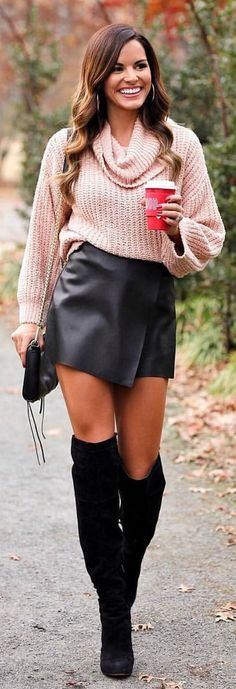 #winter #outfits pink knitted sweater, black leather mini skirt and pair of black thigh-high boots