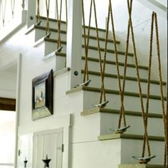 DIY nautical stairs - OMG I love this!!!!! I wanna do this in the basement and paint it navy blue and white chevron!