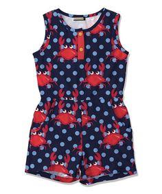 Navy & Red Polka Dot Crab Pocket Romper - Toddler & Girls