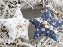 Weihnachtsbaumschmuck Sterne Landhaus grau/weiß
