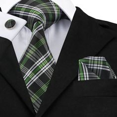2017 Fashion White Black Green Plaid Tie Hanky Cufflinks 100% Silk Neckties Ties For Men Formal Business Wedding Party C-906