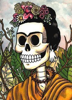 Frida Calavera with Flowers
