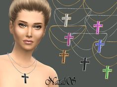 The Sims Resource: Crystal cross pendant by NataliS • Sims 4 Downloads