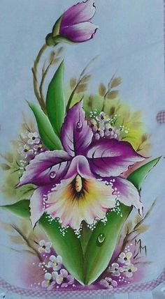 orquideas One Stroke Painting, Tole Painting, Fabric Painting, Flower Images, Flower Pictures, Flower Art, Nice Flower, Art Floral, Colorful Flowers