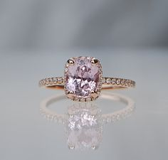 1.91ct Cushion ice peach champagne sapphire in 14k rose gold diamond ring engagement ring
