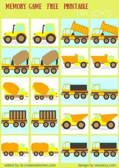 Are your children interested in transportation? Simply print, cut, and lay all cards face down, then find the matc Fun Math Games, Free Preschool, Preschool Printables, Toddler Activities, Preschool Activities, Free Printables, Free Games For Kids, Memory Games For Kids, Winter Crafts For Prek