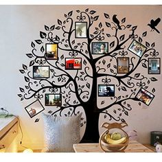 "Homecube 96"" x 96"" XXL Huge Removable Decal Photo Picture Frame Family Black Tree Wall Décor Wall Sticker (XXL Large Upward)"
