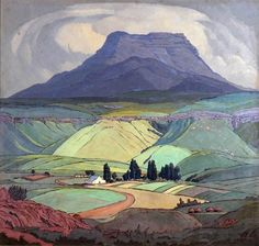 1929 by Jacobus Hendrik Pierneef (South African, Majuba Natal, South… Abstract Landscape, Landscape Paintings, Illustrations, Illustration Art, South African Artists, Art Graphique, Art For Art Sake, Artist Art, Art Gallery