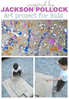 Fun and active fine art - Jackson Pollock { Great tips for taking toddlers to a museum too }