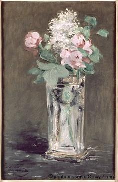 1882 Fleurs dans un vase de cristal by Manet