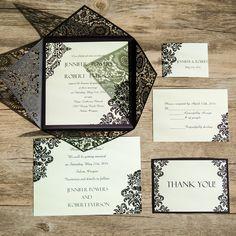 vintage black damask laser cut wedding invites EWWS0611