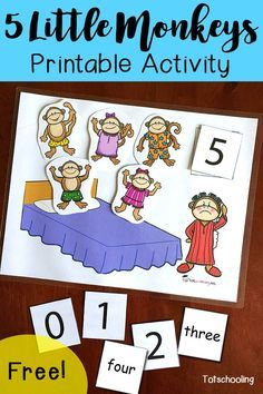 GRATIS actividad 5 Little Monkeys para contar, para aprender los números y nombres de los números.  Grande para los niños pequeños, niños en edad preescolar y kindergarten a lo sigue con esta canción de cuna clásica.