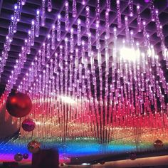 Rainbow light ceiling #colourful #neon Photo by limedrop • Instagram