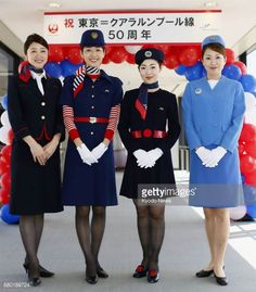 Japan Airlines (JAL) Flight Crew Uniforms over the years. Female Pilot, Cabin Crew, Flight Attendant, Silk Scarves, Japanese Girl, Mini Skirts, Shoes, Japan Girl, Zapatos