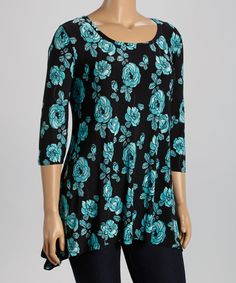 Another great find on #zulily! Black & Jade Roses Sidetail Tunic - Plus by GLAM #zulilyfinds