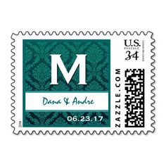 Green and White Wedding Circles Monogram M A214 Postage Stamp online after you search a lot for where to buyShopping          Green and White Wedding Circles Monogram M A214 Postage Stamp today easy to Shops & Purchase Online - transferred directly secure and trusted checkout...