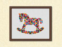 Geometric Rocking Horse Counted Cross stitch by KHANNAandILAN