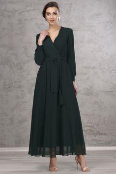 Uzun Zümrüt Şifon Elbise 5813-308 İroni