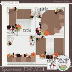 Spookiness Digital Scrapbook {TEMPLATES}. $4.00 at Gotta Pixel. www.gottapixel.net/