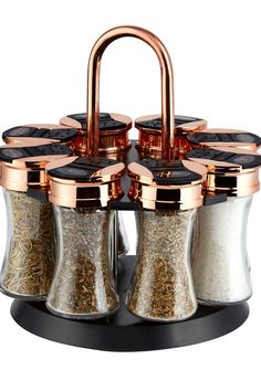 Buy Tower 8 Jar Spice Rack from the Next UK online shop - copper kitchen Kitchen Jars, Kitchen Items, Kitchen Gadgets, Rose Gold Kitchen Appliances, Kitchen Utensils, Kitchen Tools, Kitchen Cabinets, Spice Rack Black, Black And Copper Kitchen