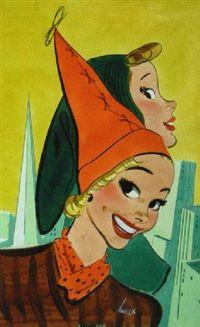 Women modelling fashionable hats, skyline in background by Earl Oliver Hurst Cleveland, Vintage Illustration Art, Horror House, Commercial Art, Global Art, Art Auction, Art Market, American Artists, Art Images
