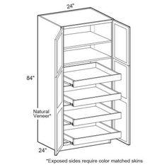 Rta Pantry Cabinet 30 Width 24 Depth 90 Height Five Full Depth Shelves Total 4 Doors