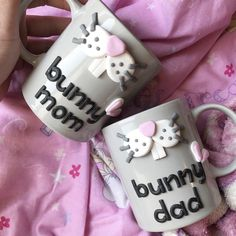 Bunny mom dad polymer clay handmade homemade mug grey animal cute couple rabbit nose