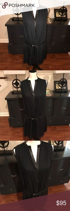 "Alice + Olivia Navy & Black Leather Detail Dress M Alice + Olivia Navy & Black Leather Detail Dress M. Perfect condition. 35"" in length. Alice + Olivia Dresses"