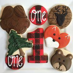 Lumberjack cookies! First birthday, beard cookies, plaid, lumberjack, fox cookies, bear cookies