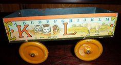 Vintage Tin Litho Alphabet Toy Wagon Early 1900's