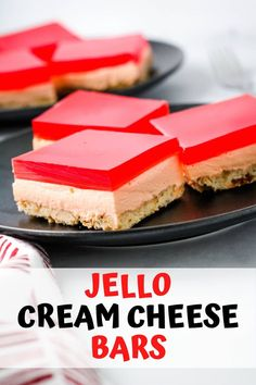 Jello cream cheese bars are a tripled layered dessert with a shortbread crust, cream cheese center, and jello top. Perfect dessert to share at your next family get together. Hawaiian Dessert Recipes, Jello Dessert Recipes, Cheesecake Desserts, Just Desserts, Delicious Desserts, Yummy Food, Cream Cheese Bars, Cream Cheese Desserts, Cream Cheese Recipes